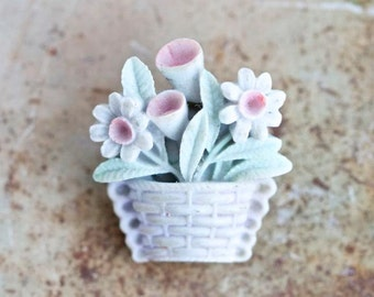 Flower Basket Lapel Pin - Vintage Resin Brooch