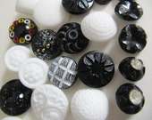 34 Black and white German glass buttons, 14 mm, 18 mm, 22 mm round square self shank buttons, jewelry making, for crafting, sewing supplies