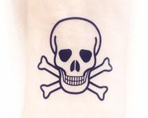 Skull Tattoo - Skull and Crossbones Temporary Tattoo - Skeleton Tattoo