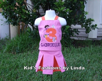 Birthday Applique Number Pink/Orange Corset Top /Pleated Skirt