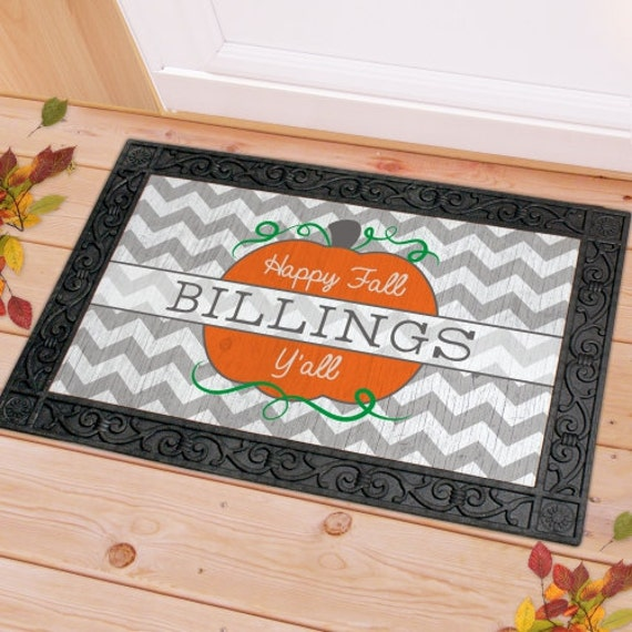 Chevron Family Fall Personalized Doormat