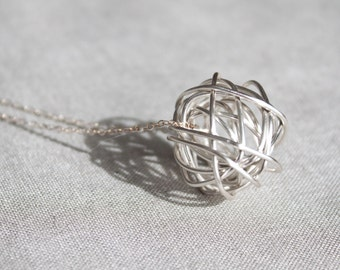 Large Silver Tangled Knot Necklace