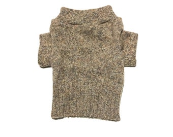 Designer Dog Sweater, X Small Brown Speckled Wool Blend, Handmade Pet Apparel Clothes, Boy Dog Clothes 0353