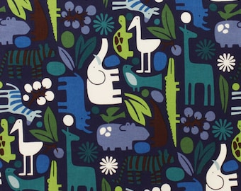 LAMINATED cotton fabric by the yard - 2D Zoo Navy Blue (aka oilcloth coated vinyl fabric ) - Alexander Henry