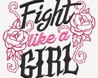 Fight Like a Girl Breast Cancer Awareness Embroidered Flour Sack Hand/Dish Towel