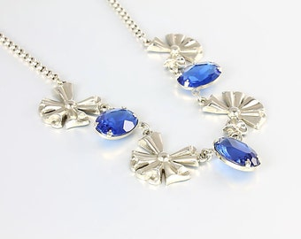 Blue crystal Art Deco Necklace, 1930s Coro silver Necklace Antique jewelry