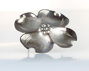 Oxidized NYE Sterling silver Dogwood Brooch, Spring Flowers vintage jewelry