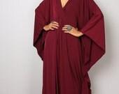 Burgundy Dress - Burgundy Kaftan - Kimono Butterfly Dress: Funky Elegant Collection No.1s