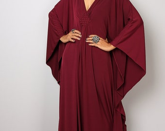 Burgundy Dress - Burgundy Kaftan - Kimono Butterfly Dress: Funky Elegant Collection No.1s