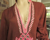 Vintage Cotton Brown and Pink Cord Design Peasant Shirt, Vintage Tunic, Bohemian Vintage Shirt, Vintage Hippie Shirt, Vintage Gauze Shirt