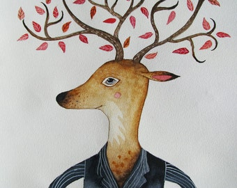 Tree head-original deer painting- original watercolor illustration-kids art-original deer illustration-deer illustration