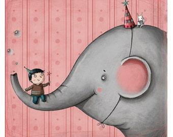 Me and my elephant- elephant print-elephant nursery decor- elephant art print-kid art- kid room decor
