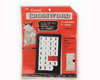 Vintage 1950's The Cornell Crossword Puzzle - Plastic Sliding Tile Puzzle - Pocket Word Puzzle
