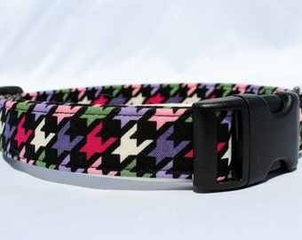 Handmade Cotton Dog Collar - Colorful Geometric Shapes on Black