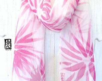 Small Silk Scarf Hand painted, Pink Silk Chiffon Scarf, Summer Scarf,  Raspberry Pink Hanabi Scarf, Silk Scarves Takuyo, 7x52 inches,