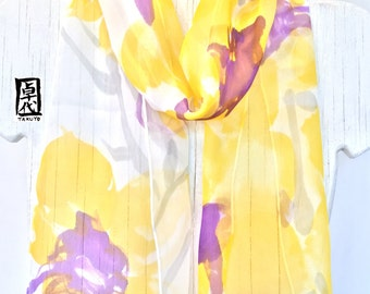 Silk Scarf handpainted, Christmas Gift, Yellow and Purple Scarf, Chiffon, Tropical Zen Orchids Scarf, Silk Scarves Takuyo, 8x54 inches.