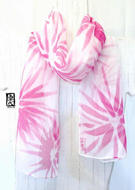 Small Silk Scarf Handpainted, Valentines Day Gift, Gift for her, ETSY, Pink Silk Scarf, Summer Scarf, Raspberry Pink Hanabi Scarf, 7x52 inch