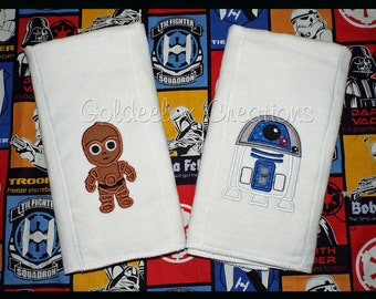 Star Wars Cuties Inspired Burp Cloths Set of 3 Embroidered Soft Cotton Burp Cloths/Towels Made To Order