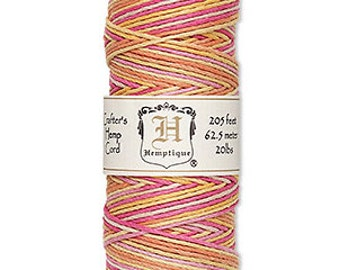 Hemp Cord  multicolored -1mm- 205ft Colors include orange, pink, yellow and light pink