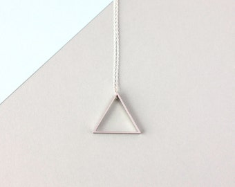 Large Single Silver Triangle Necklace - Sterling Silver Chain - Minimalist Jewellery