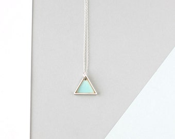 Mini Geometric Two Triangle Necklace (Silver - Blue) - Modern Handmade Jewellery