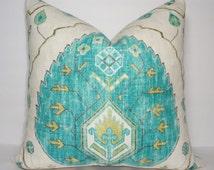 Turquoise & Tan Ikat Pillow Cover Decorative Throw Pillow Cover Turquoise Blue/Green Ikat Design 18x18 20x20