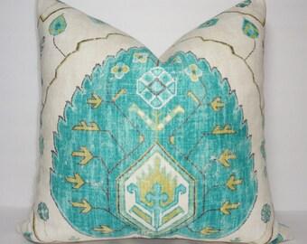 Turquoise & Tan Ikat Pillow Cover Decorative Throw Pillow Cover Turquoise Blue/Green Ikat Design 20x20  22x22
