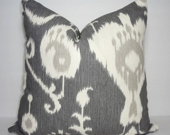 Grey Ikat Print Pillow Covers Java Pewter Ikat Java Decorative Pillow Cover All Sizes