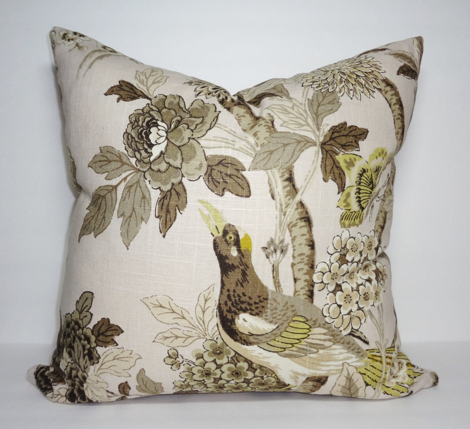 floral bird green brown tan pillow cover decorative flower. Black Bedroom Furniture Sets. Home Design Ideas
