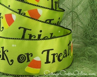 """Halloween Wired Ribbon, 2 1/2"""", Trick or Treat Script, Lime Green Satin - FIVE & 1/8 YARDS -  Candy Corn #710016 Craft Wire Edged Ribbon"""