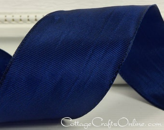 "Wired Ribbon, 1 1/2"" wide, Navy Blue Taffeta - TEN YARD ROLL - ""Lyon"" July 4th, Nautical, Wedding, Floral Craft Wire Edged Ribbon"