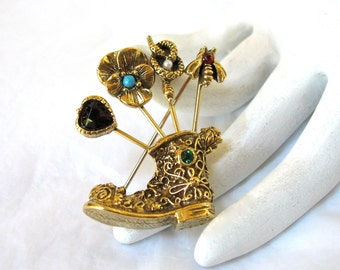 signed GOLDETTE Stickpin Boot Brooch, snake, bee charms, Repair Piece