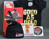 SALE* Baby Gift Box Good as Gold onesie, Black knotted baby beanie hat HipHop lullaby CD, sticker & new baby Greeting card.