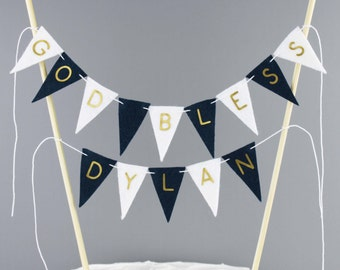Personalized God Bless Cake Banner Sign, Christening Day Cake Topper, Boy Baptism Bunting in Navy Blue White and Gold, First Communion Decor