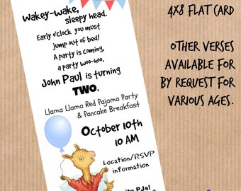 Llama Llama Red Pajama, Party Invitation, 4x8 Flat Card, Red and Blue, Toddler Birthday, Personalized