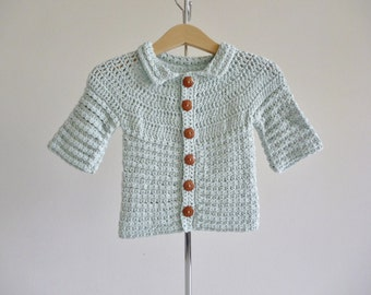 baby jacket in ice blue - handmade with soft organic cotton - age 3 - 6 months - eco friendly