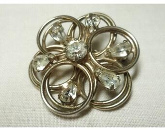 Vintage 1960s Silver & Rhinestone Flower Brooch