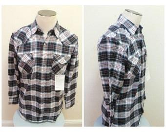 Vintage 1980s Plaid Flannel Western Shirt - Medium, 15 1/2, NOS
