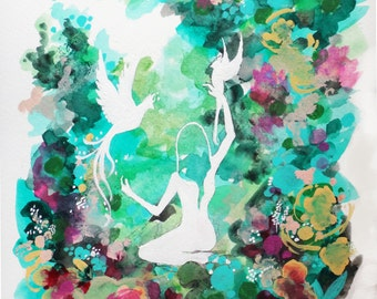 Woodland watercolor art print floral birds - Meaning Of Eden