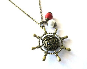 Rudder necklace jewelry, ship steering wheel necklace long chain antique brass bronze nautical charm pendant