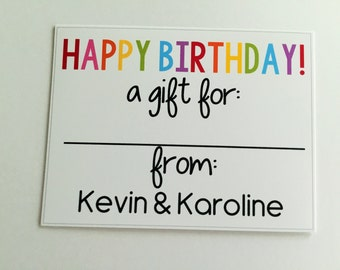Personalized Colorful Gift Wrapping Tags, Happy Birthday Tags, Kids Gift Tags, Gift Wrapping Labels, Custom Gift Tags, Set of 12