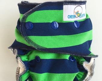 "Cheeky Cloth One Size Organic Bamboo AI2 Diaper ""Seahawks Stripe"""