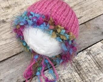 new born bonnet,knitted pink bonnet