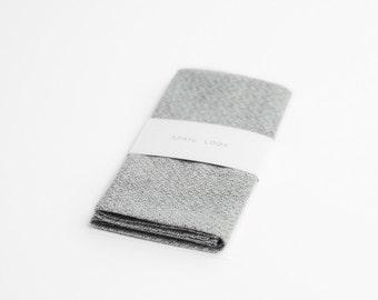 Chambray wool pocket square, light grey hankie