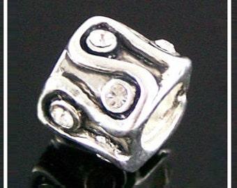 WaVY SCRoLL Design with CLEaR Rhinestones - APRiL Birthstone - DIAMoND - Charm Bead fits European Bracelets - PC-1309