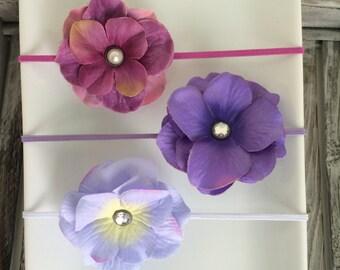 Purples Petal Flower Elastic Baby/Toddler Girl Headband Set YOU CHOOSE SIZE (set of 3)