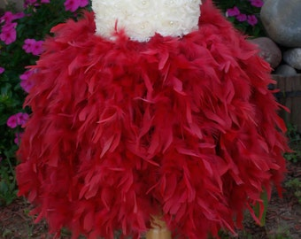 Flower girl dress. Ivory and Raspberry Feather Tutu Dress. Wedding. Birthday. Fllower Girls Dress.Feather Dresss.Vintage Dress.Peach Dress
