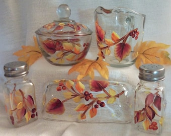 Autumn Sugar Bowl, Creamer, Butter Dish and Salt and Pepper Set
