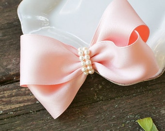 Peach with pearl accent hair bow for all ages - adorable hair bow, classic bow, wedding, flower girl, peach