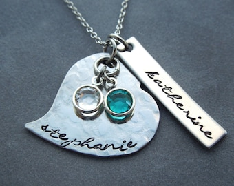 Personalized mothers necklace, hand stamped two name necklace with birthstones
